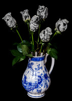 Wedding Lace Roses in Delft Vase